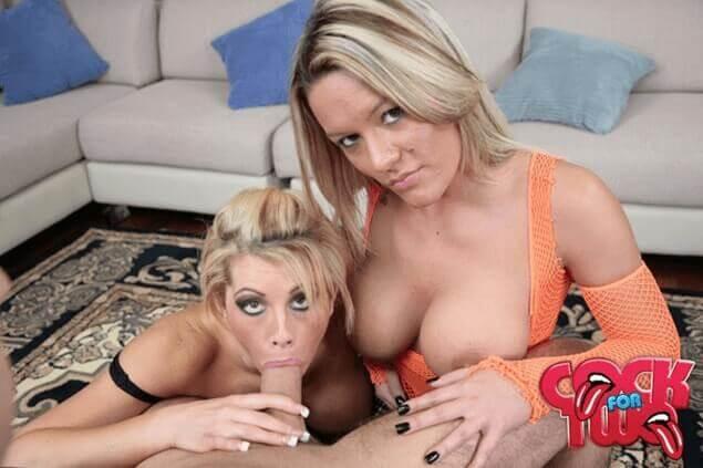 Blonde Hausfrauen beim Schwanz lutschen auf Porno Foto